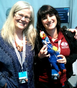 Maria Pflug-Hofmayr &amp; Olivia Haider with Camilla mascot wearing already the Oewf pin
