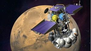 Phobos-Grunt illustriert, im Hintergrund Mars (c) ROSCOSMOS
