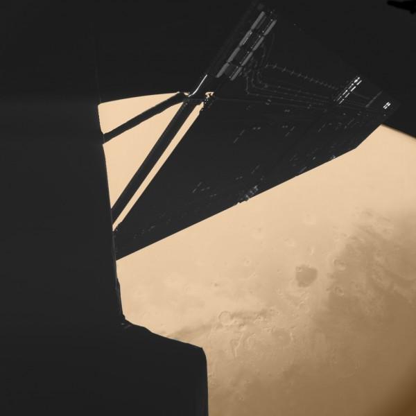 Rosetta bei ihrem Vorbeiflug beim Mars 2007
